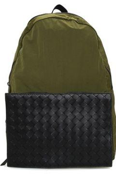 Bottega Veneta Erkek Haki Siyah Örgü Doku Detaylı SırtÇantası Yeşil EU(107373656)