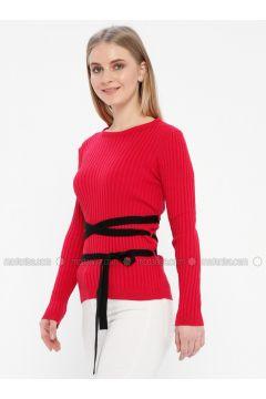 Red - Crew neck - Acrylic -- Jumper - Kaktüs(110327767)