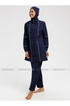 Navy Blue - Unlined - Fully Covered Swimsuits - Ranuna(110333227)