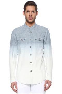 Balmain Erkek Mavi Beyaz Çizgili Gömlek 40 IT(113464527)