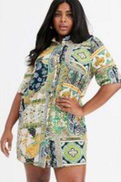AX Paris Plus - Vestito camicia con stampa a fiori sul bordo-Multicolore(120329578)