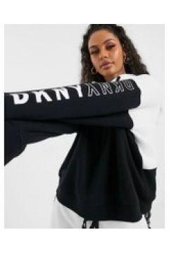 DKNY - Felpa con cappuccio e logo bianca e nera-Bianco(112345642)