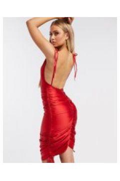 Club L London - Vestito in raso arricciato rosso con spalline sottili(120323592)