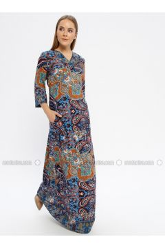 Blue - Multi - V neck Collar - Unlined - Dresses - Le Mirage(110338923)