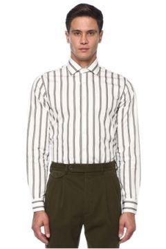 Lardini Erkek Beyaz Bej Açık Yaka Çizgi Desenli Gömlek Kahverengi 42 IT(121108376)