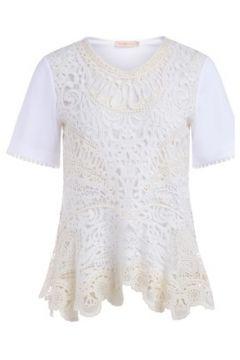 T-shirt Tory Burch Tee-shirt en coton blanc avec broderie de dentelle(101660219)
