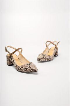 Shoes & More Kadın Kahverengi Loaso Naturel Yılan Orta Topuk Ayakkabı(124320771)