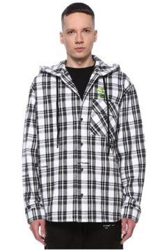 Off-White Erkek Siyah Beyaz Kapüşonlu Ekoseli Logolu Gömlek S EU(107864194)