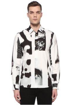 Paul Smith Erkek Slim Fit Siyah Beyaz Baskılı Gömlek S EU(108933843)