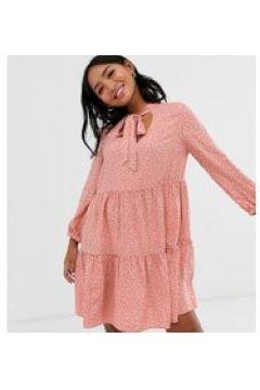 New Look Petite - Rosa Hängerkleid mit großer Schleife am Ausschnitt und Pünktchenmuster - Rosa(93798578)