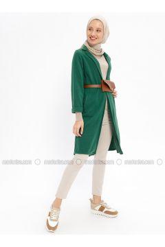 Green - Cotton - Cardigan - Beha Tesettür(110328409)