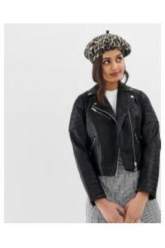 Miss Selfridge - Giacca biker in pelle sintetica nera-Nero(120388614)