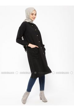 Black - Point Collar - Tunic - SELLY(110330485)