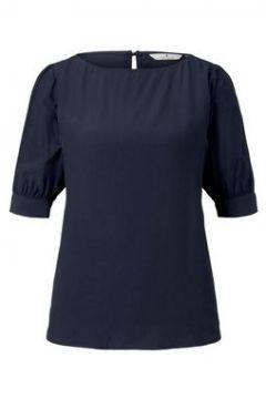 TOM TAILOR Damen Bluse mit gerafften Ärmeln, blau, Gr.34(114317728)