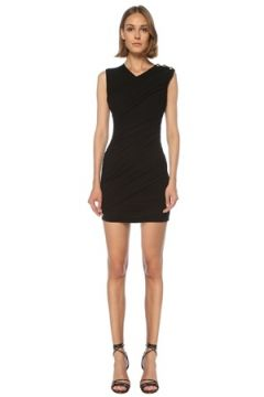 Balmain Kadın Siyah V Yaka Drapeli Mini Elbise 42 FR(122066446)