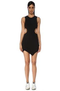 Off-White Kadın Siyah Dekolteli Asimetrik Kesim Mini Elbise 42 IT(119785410)