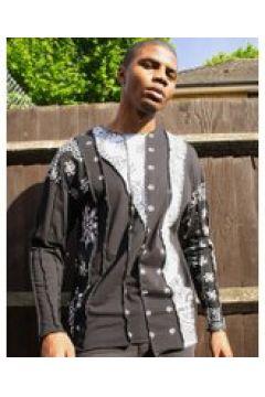 Jaded London - Top a maniche lunghe cut and sew con stampa cachemire-Nero(120279342)