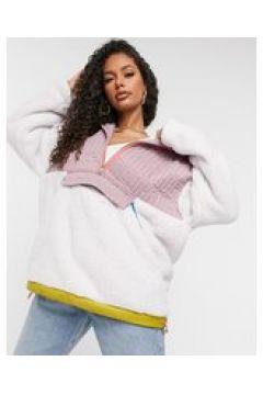 UGG - Iggy - Pullover in peluche rosa multi con zip corta-Multicolore(122917506)