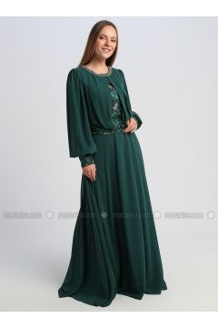 Green - Fully Lined - Crew neck - Muslim Evening Dress - Le Mirage(110337544)