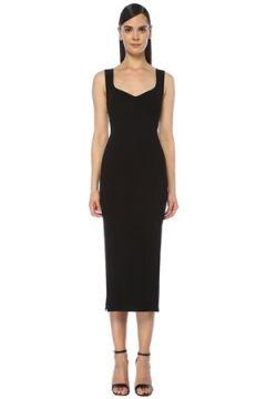 Alaia Kadın Siyah Kalp Yaka Midi Triko Elbise 36 FR(118397912)
