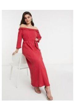 Elvi - Vestito con scollo Bardot rosso ricamato(124802032)