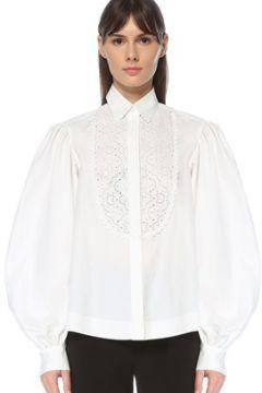 Alaia Kadın Beyaz Polo Yaka Ajur Detaylı Balon Kollu Gömlek 42 IT(123840629)
