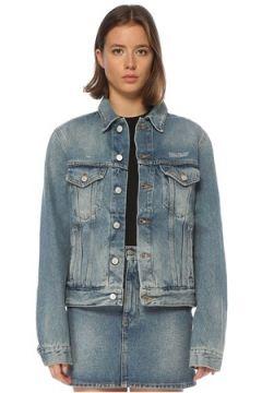 Off-White Kadın Logo Nakışlı Jean Ceket Mavi 42 IT(121208153)