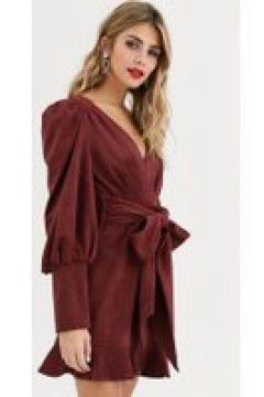 Skylar Rose - Vestito da giorno allacciato in vita con fiocco e scollo profondo-Marrone(120331827)