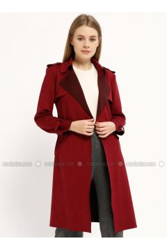 Maroon - Shawl Collar - Trench Coat - Kaktüs(110319672)