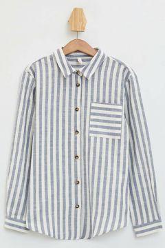 DeFacto Kız Çocuk Çizgili Cep Detaylı Uzun Kollu Gömlek(108988417)