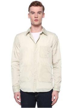 Aspesi Erkek Ekru Polo Yaka Slogan Baskılı Dış Gömlek Beyaz S EU(109265373)