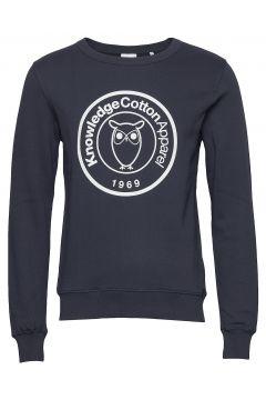 Elm Big Owl Print Sweat - Gots/Vega Sweat-shirt Pullover Blau KNOWLEDGE COTTON APPAREL(115807249)