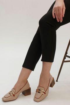Marjin Kadın Vienta Topuklu Ayakkabı bej(123141112)