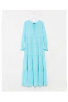 Soaked In Luxury - Vestito lungo a balze-Blu(120330453)