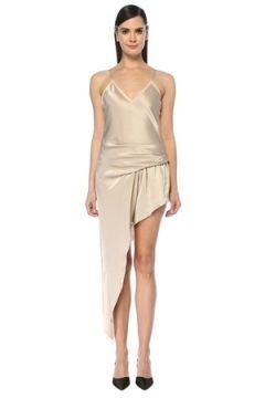 Alexander Wang Kadın Bej V Yaka Dantelli Asimetrik Drapeli Mini Elbise Altın Rengi 4 US(107373402)
