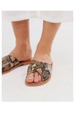 Oasis - Sandali in pelle con stampa pitonata-Multicolore(120291662)