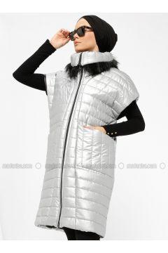 Gray - Fully Lined - Polo neck - Vest - Miorespiro(110335498)