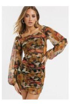 New Girl Order - Vestito a fascia con stampa mista e arricciature-Multicolore(120328608)