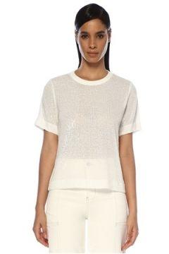 In the Mood for Love Kadın Tanya Beyaz İşlemeli Kısa Kol Bluz XS EU(119423102)
