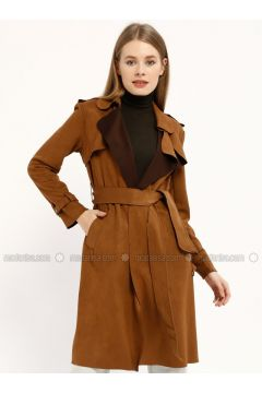 Camel - Shawl Collar - Trench Coat - Kaktüs(110319673)