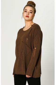 Verda Eskitme Tasarımlı Kahverengi Bluz(121170562)