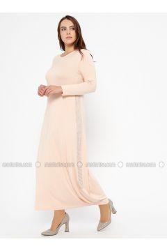 Powder - Crew neck - Unlined - Plus Size Dress - Efraze(110329605)