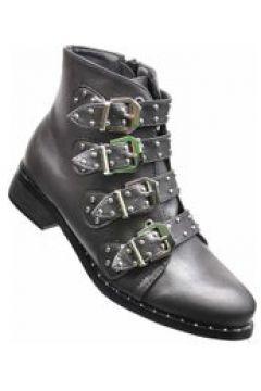Pantofelek24.pl | Rockowe botki z klamerkami SZARE(112082447)