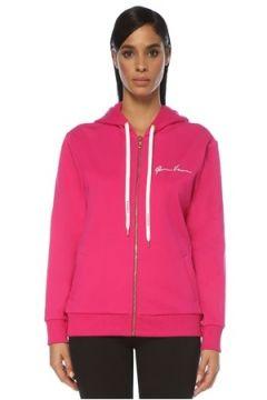 Versace Kadın Şeftali Kapüşonlu Fermuarlı Logolu Sweatshirt Pembe 42 IT(120885118)