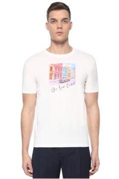 Lardini Erkek Beyaz Figür Baskılı Slogan Detaylı T-shirt S EU(107373325)