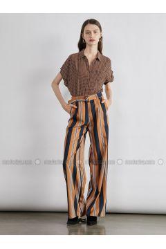 Brown - Stripe - Pants - Koton(110323892)