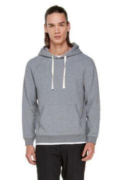 Tru Erkek Gri Melanj Kapüşonlu Sweatshirt M EU(113464541)