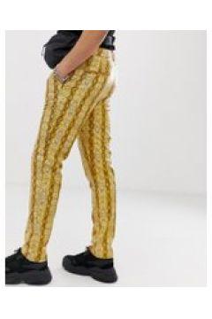 ASOS DESIGN - Schmale Hose aus Vinyl mit Schlangenmuster bedruckt - Gold(83149029)
