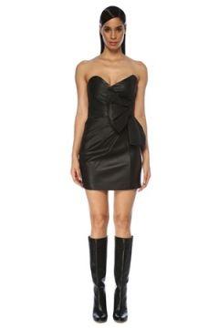 Red Valentino Kadın Siyah Straplez Fiyonk Detaylı Mini Deri Elbise 38 IT(119423321)