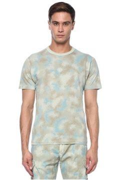 Stone Island Erkek Devore Gri Kamuflaj Desenli Basic T-shirt Haki XXL EU(117578368)